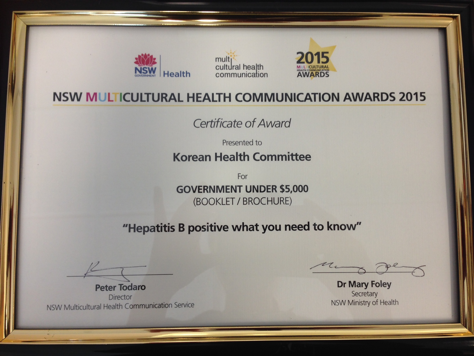 2015 NSW Multicultural Health Communication Award - Korean Health Committee